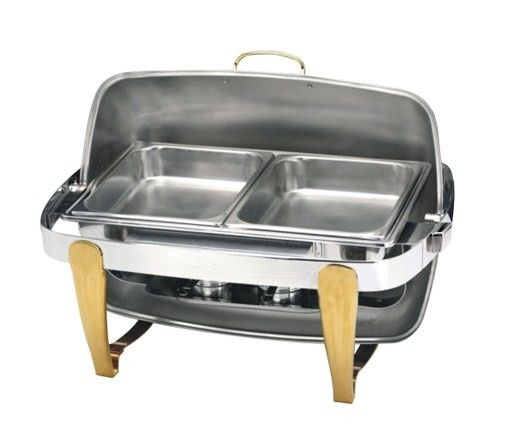 Titanium Coating Oblong Chafing Dish Roll Top Lid Gold Legs and Handle 2-Compartment Stainless Steel Food Container
