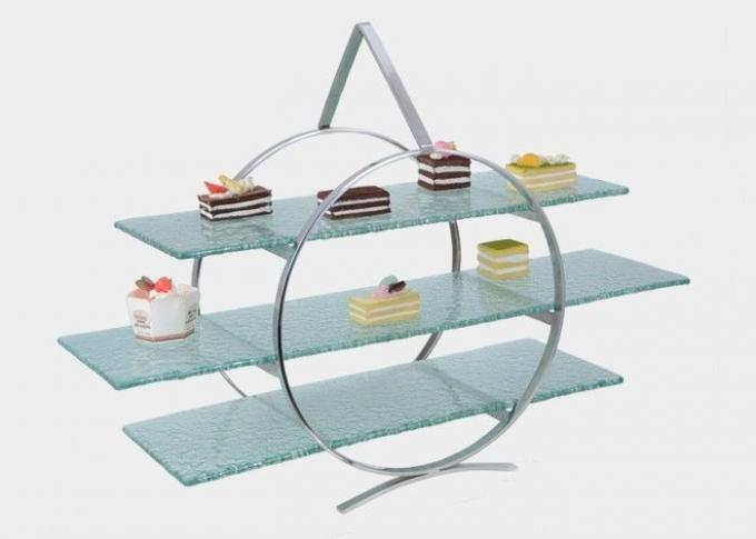 3 - Layer Dim Sum Display Stand for Serving Buffet Food , Melding Green Tined Glass
