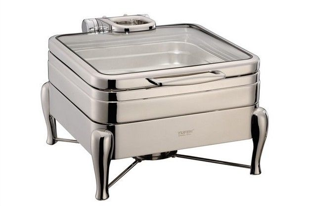 YUFEH Stainless Steel 304# Hydraulic Induction Chafing Dish W/ Glass Lid Buffet Serving Dish Warmer