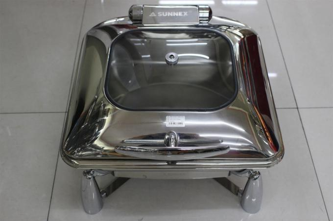 Contemporary Stainless Steel Cookwares  / Chafing Dish Buffet Set Rectangular Shape