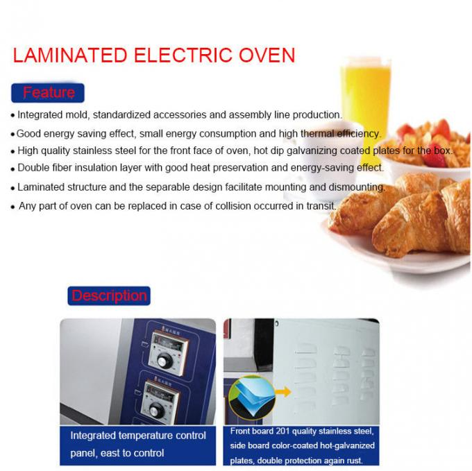 2 Decks 2 Trays Stainless Steel Electric Baking Ovens Laminated-Type Features Energy-Saving Temperature Range 20~300°C