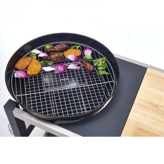 Outside Commercial Kitchen Equipments Charcoal BBQ Grill With Cabinet And Table