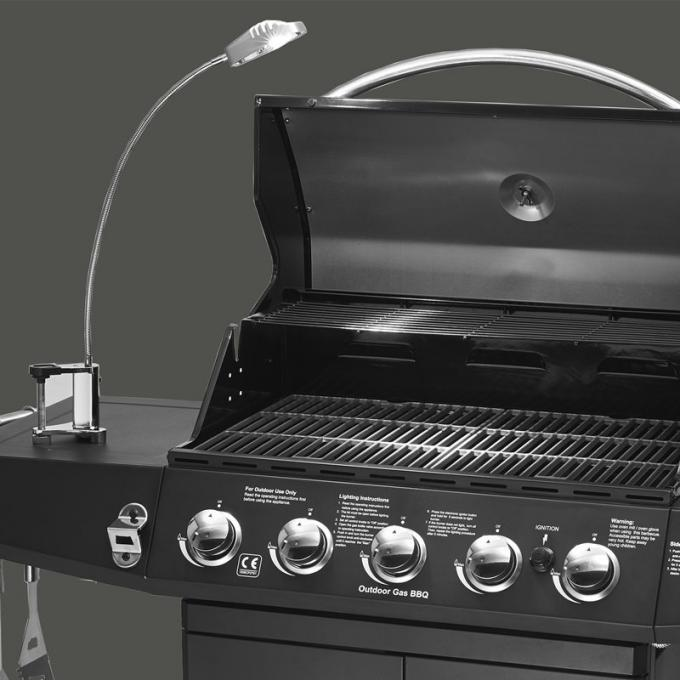 5 Burners And Side Burner Gas BBQ Grill With Gast Iron Hotplate And Enamel Hoods