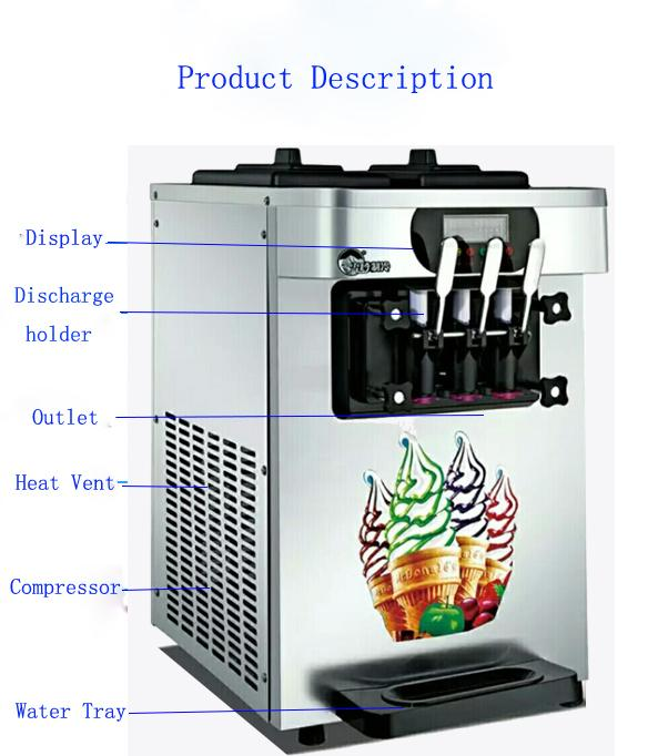 R410 Commercial Refrigerator Freezer Desk / Table Top Soft Ice Cream Machine With Three Flavors