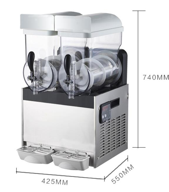 Commercial Stainless Steel Ice / Snow Slush Machine Double Heads 15L