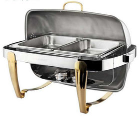 China Titanium Coating Oblong Chafing Dish Roll Top Lid Gold Legs and Handle 2-Compartment Stainless Steel Food Container supplier