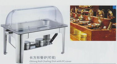 China Restaurant Stainless Steel Cookwares Oblong Roll Chafing Dish With PC Cover supplier