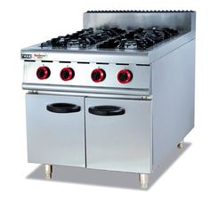 China Silvery White 4 Burners Gas Cooking Stoves With Storage Cabinet 12 Months Guarantee supplier