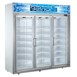 China Vertical Supermarket Display Refrigerator , Three Glass Door Commercial Fridge Freezer supplier
