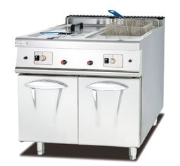 China Commercial Gas Deep Fryer With Cabinet Western Kitchen Equipment Chips Fryer supplier
