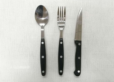 China Plastic Handle Stainless Steel Flatware Sets of 3 Pieces Knife Fork and Spoon Length 20cm supplier
