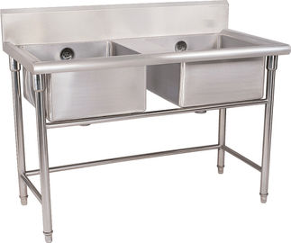 China Silver Stainless Steel Double Compartment Sink 1.2mm For Restaurant With MDF supplier