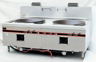China Chinese Style Two Burner Big Wok Stove Strong Firebrick Burner 250W Power Blower supplier