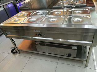 China Stainless Steel 8 Pans Bain Marie with Under Shelf 1500*700*800mm supplier