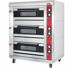 China 3 Layer 6 Tray Gas Baking Ovens with Window Door Mechanical Controller Timer supplier
