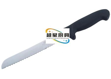 China 25cm Stainless Steel Cookwares , Western Style Bread Knife With Black Plastic Handle supplier