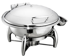 China 6.0Ltr Round Hydraulic Chafing Dish Full Stainless Steel Lid Induction Or Spirit Heat Source Dia.35cm Food Pan supplier
