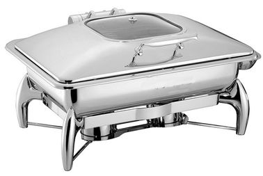 China Hydraulic Glass Windowed Lid Stainless Steel Chafing Dish Full Sized 9L supplier