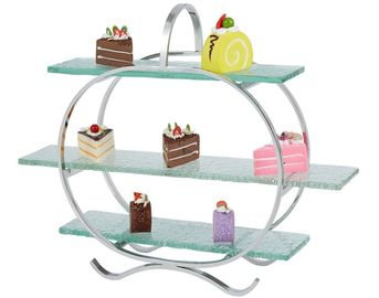 China 3 - Layer Glass Cake Display Stand with Platters Decorating for Banquet Serving Buffet supplier