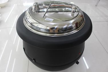 China Black Color Electric Soup Warmer / Stainless Steel Cover Single Phase 220V Volt supplier