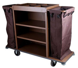 "China 6"" PP Wheels Iron Paint Brown Room Service Equipments , Hotel 3 - Tier  Housekeeping Cart supplier"