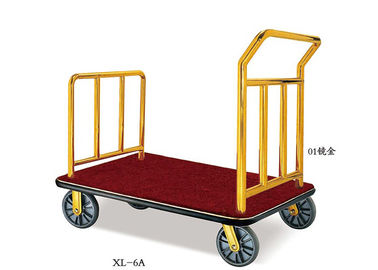 China Hotel Lobby Room Service Trolley Stainless Steel Mirror Gold Finish with Red Carpet Platform supplier