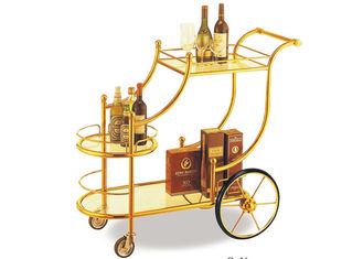 China Big Wheel Room Service Equipments Wine Serving Cart Mirror - Gold Finish Fire - Proof Laminated supplier