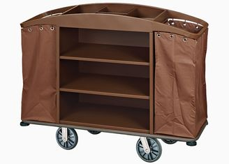 China Brown Hotel Room Service Trolleys with 6 Inches PPR Casters Heavy Duty Linen Bags supplier