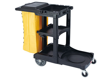 "China Black Plastic Cleaning Cart with 3 Shelves and Yellow Vinyl Bag 4'' Non - Marking Casters and 8"" Rear Wheels supplier"