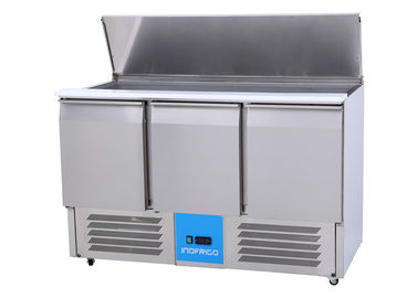 China Slim Saladette Commercial 3 Door Pizza Preparation Counter with LED Light supplier