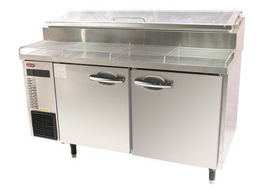 China Commercial Pizza Prep Refrigerator With 2 Door Air Cooling Undercounter Chiller Blue Ray Lighting supplier