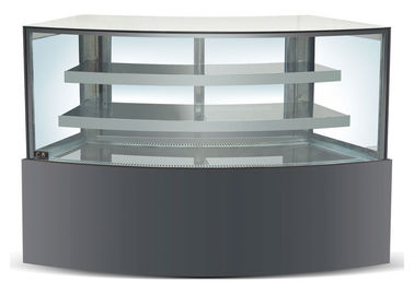 China Refrigeration Arc Glass Cake Showcase With Black Marble Base 2100x800x1300MM supplier