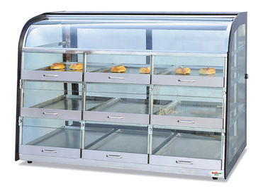 China Table Top Glass Food Warmer Showcase Drawer-Type 3-Layer 9-Pans Bread Display Cabinet supplier