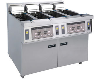 China Stainless Commercial Kitchen Equipments / 4x13L Four - Cylider Deep Fryer With Cabinet supplier