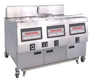 China 25x3L Electric 3-Tank Fryer / Four -Basket Commercial Electric Fryer With Cabinet supplier