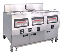 China 25x3L Electric 3 - Tank Four Basket Stainless Steel Fryer With Cabinet supplier