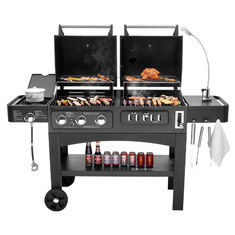 China Flame Safety Commercial Kitchen Equipments Dual Fuel GAS / Charcoal BBQ Outdoor Combo Grills supplier