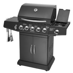 China 5 Burners And Side Burner Gas BBQ Grill With Gast Iron Hotplate And Enamel Hoods supplier