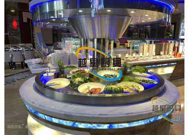 China Blue Led Display Restaurant Buffet Counter / Commercial Buffet Serving Tables supplier