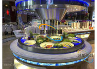 China Blue Led Display Restaurant Buffet Counter / Commercial Buffet Serving Table factory