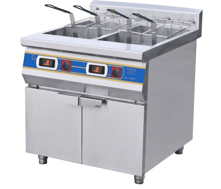 Two-Cylinder Four Basket Deep Fryer With Cabinet Commercial Kitchen ...