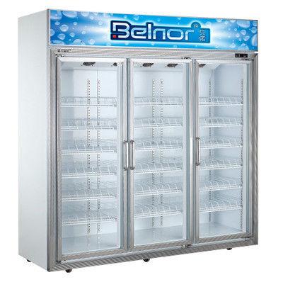 Vertical Supermarket Display Refrigerator Three Glass Door