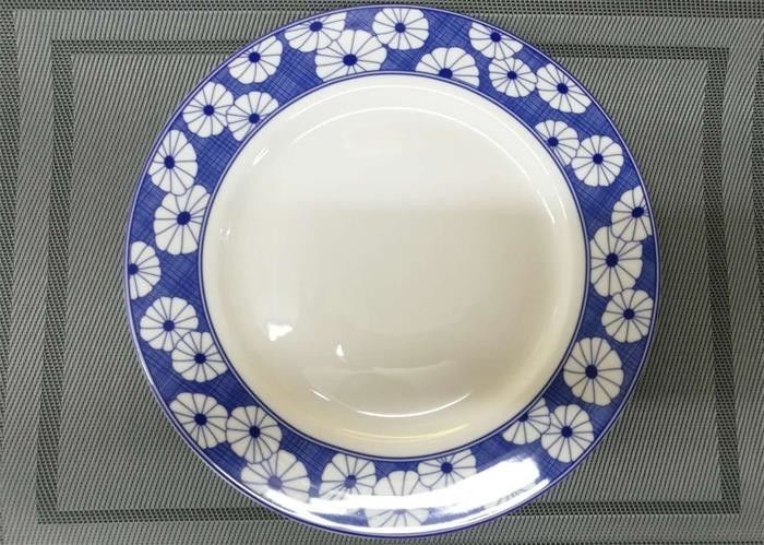 27cm White Porcelain Plates Ceramic Round Plate Decorative Pattern Wide Rim : plates ceramic - pezcame.com