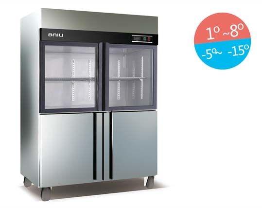 Double Temperature 4 Doors Vertical Deep Refrigerator