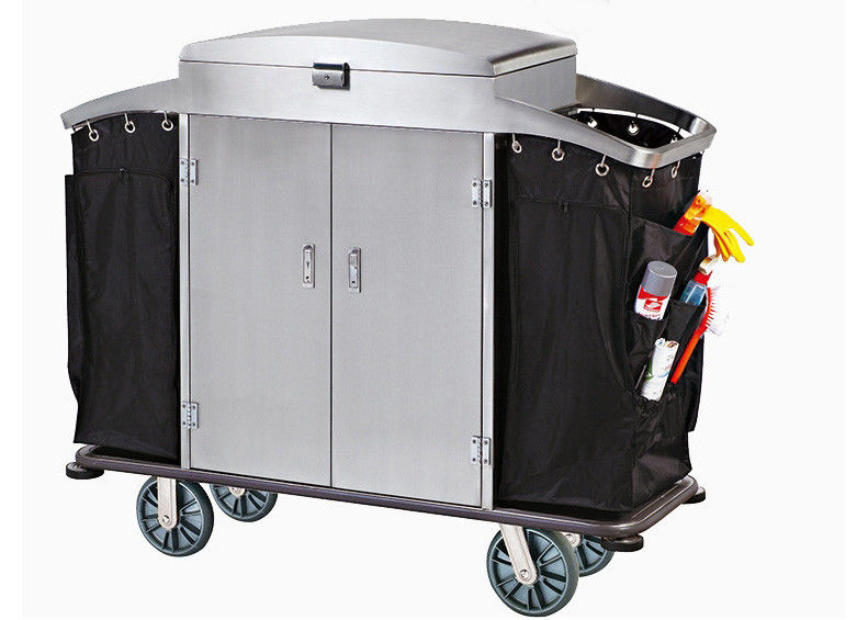 Small Room Service Trolley with Heavy Duty Refuse Bag Stainless Steel Powder - Epoxy Finish