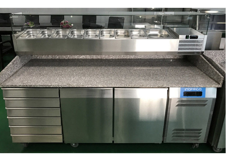 2 Door And 6 Drawer Commercial Refrigerated Pizza Prep Table With Marble Table Top