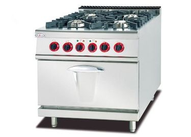 China Free Standing 4 Burners Commercial Gas Range 800 X 900 X 940 With Electric Oven 220V factory