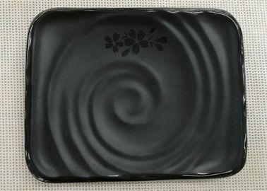 Japanese-style Rectangular Sushi Plate Black Melamine Dinnerware Weight 264g