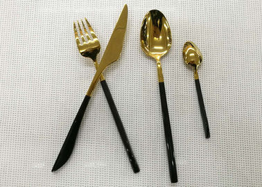 Color - plated Stainless Steel Flatware Sets of 4 Pieces Black Handles Gold Heads