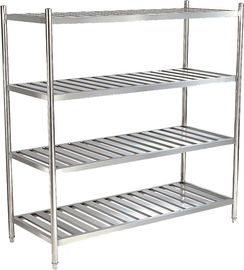 Silver Stainless Steel Catering Equipment 1200x500x1550mm , 4 Tier Storage Shelf